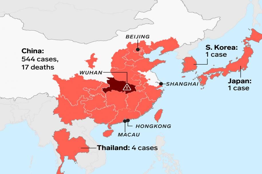 Coronavírus - Lista atualizada de países com casos confirmados